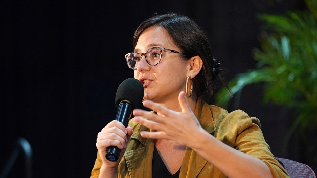Staff editor and writer for the New York Times, Bari Weiss is seen on stage during day two of the Miami Book Fair presented by Miami Dade College, Wolfson Campus on November 18, 2019 in Miami, Florida (Alberto E. Tamargo/SIPA/AP)