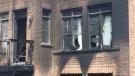 Fire caused damage at a house on Treetops Boulevard in Alliston, Ont., on July 13, 2020. (Steve Mansbridge/CTV News)