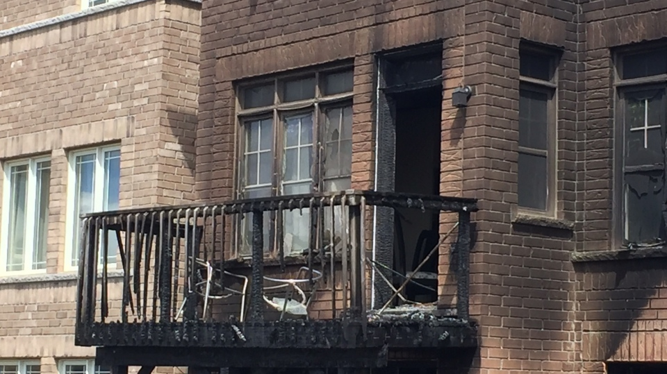 Fire caused damage at a house on Treetops Boulevard in Alliston, Ont., on July 13, 2020. (Steve Mansbridge/CTV News)