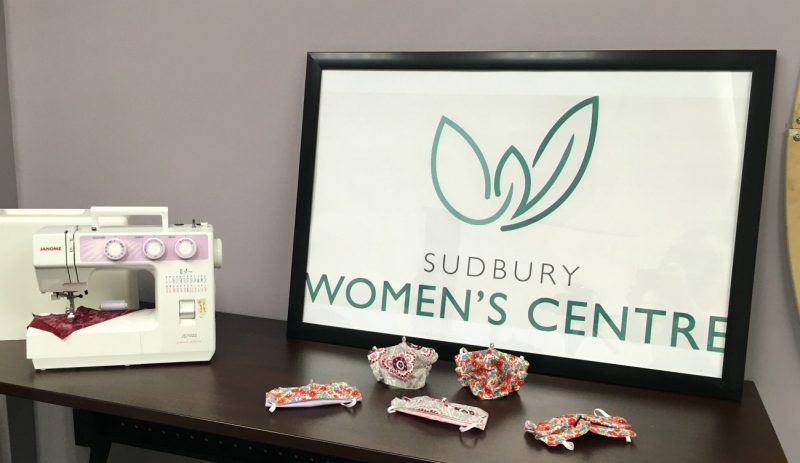 Volunteers at Sudbury Women's Centre have turned on their sewing machines and are busy working to help make 350 masks for those in need. (Alana Pickrell/CTV News)