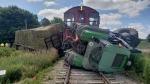 A tractor and train collided in Oxford County on July 14, 2020 (Twitter: OPP West Region)