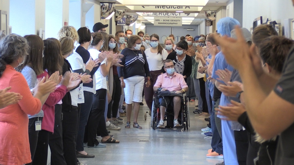 Doctors, nurses and hospital staff lined the hallway of the Valley Regional Hospital on Tuesday morning to give Al Poirier a grand send-off. (CTV ATLANTIC / NATASHA PACE)