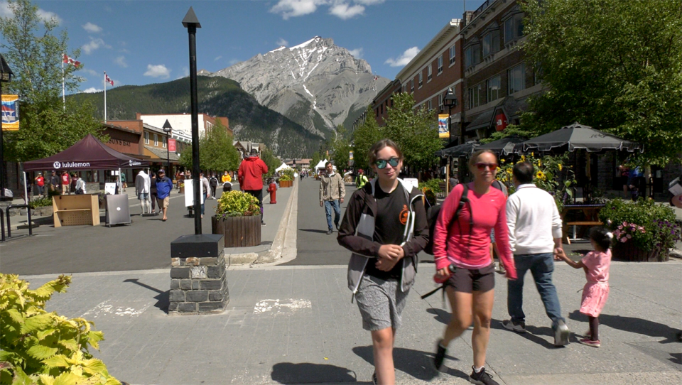 Visitors on Banff Avenue's newly created pedestrian zone