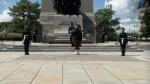 Sentries have returned to the National War Memorial in Ottawa amid the COVID-19 pandemic. (Shaun Vardon / CTV News Ottawa)