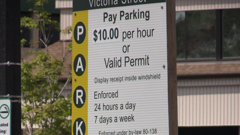 The city of Barrie, Ont., increases parking rates for out-of-towners. Tues., July 14, 2020. (Mike Arsalides/CTV News)