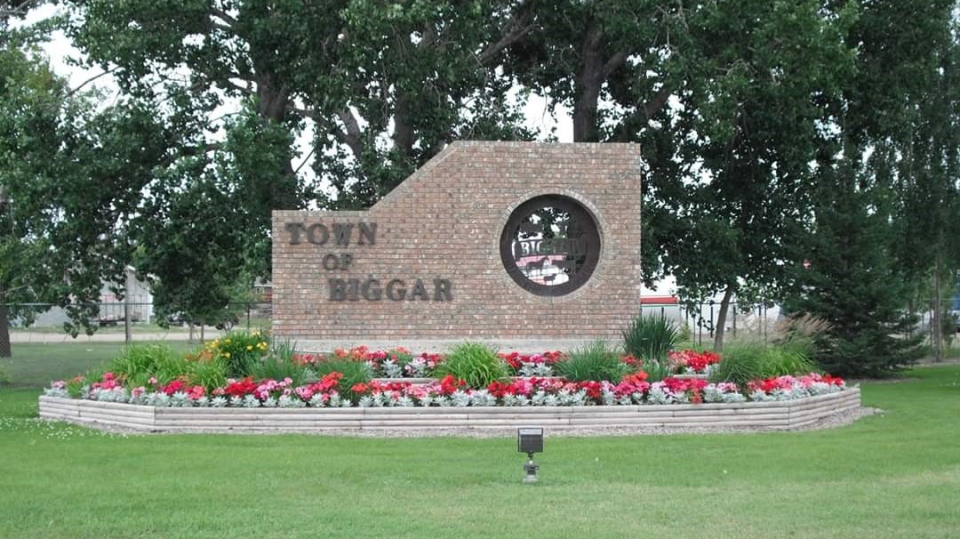 The Town of Biggar sign in Saskatchewan. The rural municipality was listed as a place impacted by COVID-19. (Submitted)