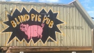 The former Blind Pig Pub located on the corner of St. Albert Trail and St. Anne Street began to be demolished on Tuesday, July 14, 2020. (John Hanson/CTV News Edmonton)