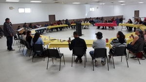 Mosquito Grizzly Bear's Head Lean Man First Nation members at a community meeting in 2019. (Submitted photo)