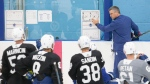 Toronto Maple Leafs head coach Sheldon Keefe gives instructions to his players during the NHL team's training camp in Toronto on Tuesday, July 14, 2020. THE CANADIAN PRESS/Chris Young