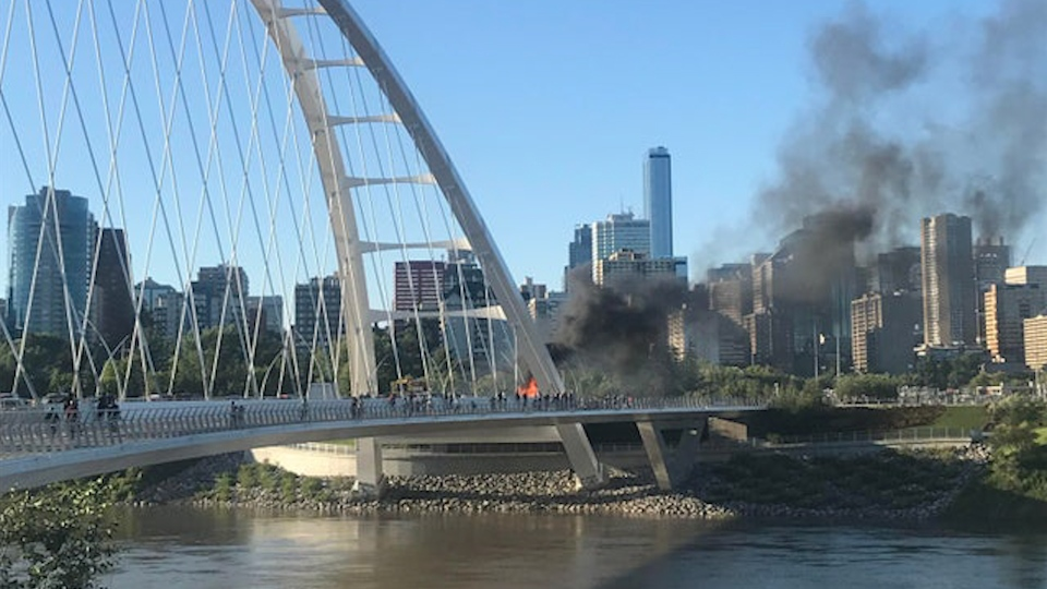 A fire on the Waterdale bridge, one person was killed in a collision involving a truck and a car on Tuesday night. (Courtesy: viexzu/Reddit)