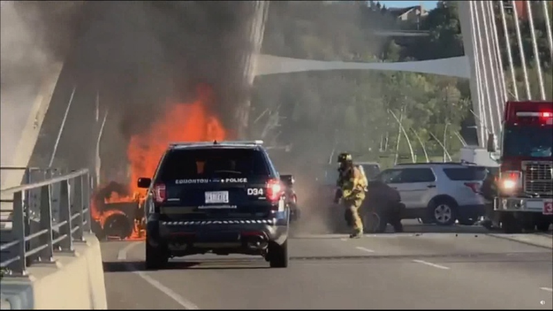 One man is dead after a crash on the Walterdale Bridge. One of the vehicles involved in the crash caught fire. (Courtesy: Justin Riemer)