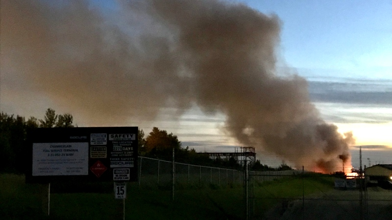 An industrial blaze at Genalta Recycling in east Edmonton was sending smoke across the Henday into Sherwood Park. Tuesday July 14, 2020 (Sean Amato/CTV News Edmonton)