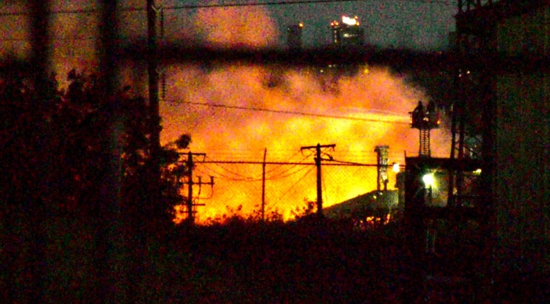 An industrial blaze at Genalta Recycling in east Edmonton was sending smoke across the Henday into Sherwood Park. Tuesday July 14, 2020 (CTV News Edmonton)