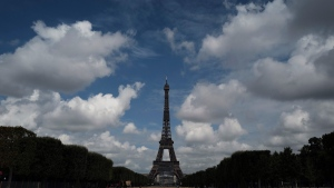 The Eiffel Tower is pictured from the Champ de Mars side during the opening up of the top floor of the famous tower, on July 15, 2020. (Francois Mori / AP)