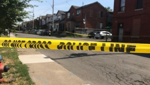 Police tape is seen at the scene of a shooting in Hamilton, Ont. on Wednesday July 15, 2020. (CTV News Toronto)