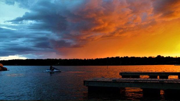 Sunset over Lake Winnipeg. Photo by Shelley Spring.