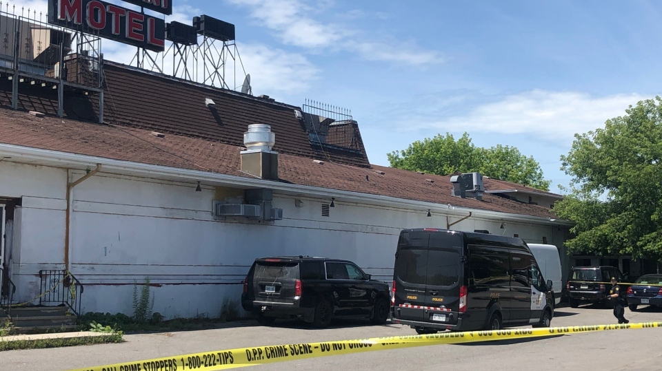 Ontario Provincial Police are investigating a homicide at the 7 West Motel in Carleton Place, Ont. July 15, 2020. (Christina Succi / CTV News Ottawa)
