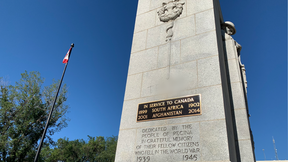 The Cenotaph in Regina is pictured after being vandalized with a tag familiar to Regina police. (Michaela Solomon/CTV News Regina)