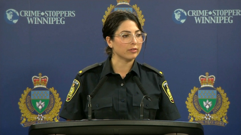 Constable Rachel Vertone with the Winnipeg Police Service speaks about an online child luring investigation on July 15, 2020.