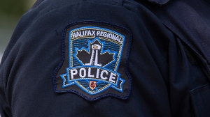 A Halifax Regional Police emblem is seen on a police officer in Halifax on July 2, 2020. (THE CANADIAN PRESS/Andrew Vaughan)
