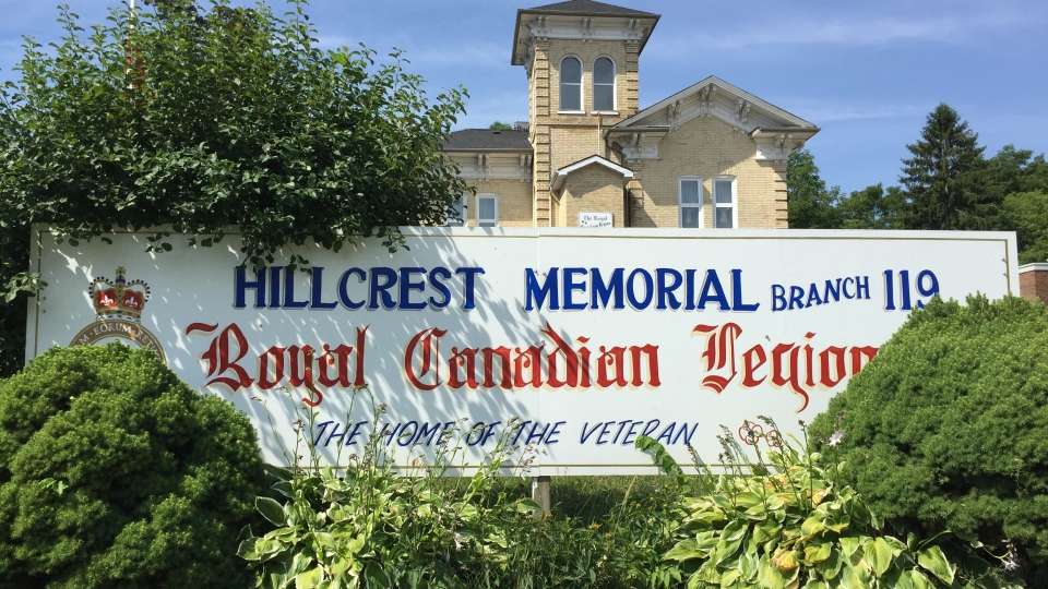 Royal Canadian Legion Branch 119 in Ingersoll, Ont. is seen Wednesday, July 15, 2020. (Bryan Bicknell / CTV News)