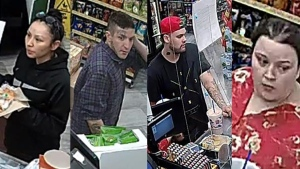 Supt. Michael Koppang with the Manitoba RCMP said during the news conference that the four people arrested and charged are the same four caught on surveillance camera at a Portage la Prairie convenience store on June 20, 2020. (Source: RCMP)