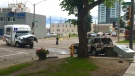 A pedestrian is dead following a crash involving an ETS DATS bus and an SUV in the area of 95 Street and 103A Avenue on Wednesday, July 15, 2020. (John Hanson/CTV News Edmonton)