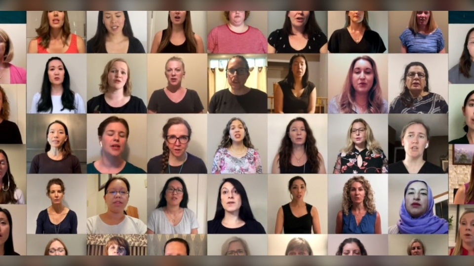 Members of the Calgary Physicians Choir have been practising since April as a way of dealing with stress during COVID-19. (Courtesy Youth Singers of Calgary)