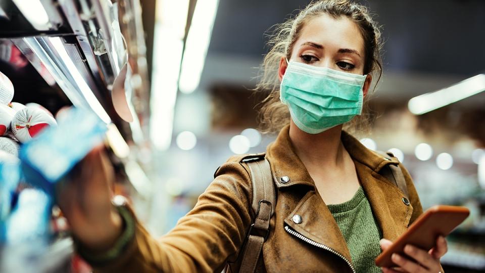Face mask while shopping