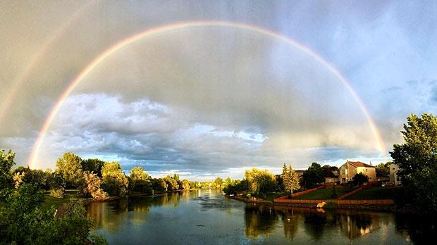 Rainbow over Island Lakes. Photo by Randy Kokesch