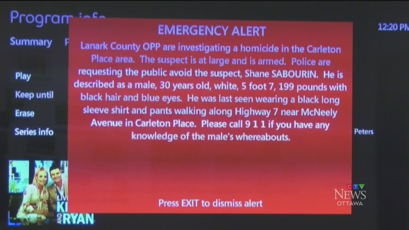 Emergency alert to track homicide suspect