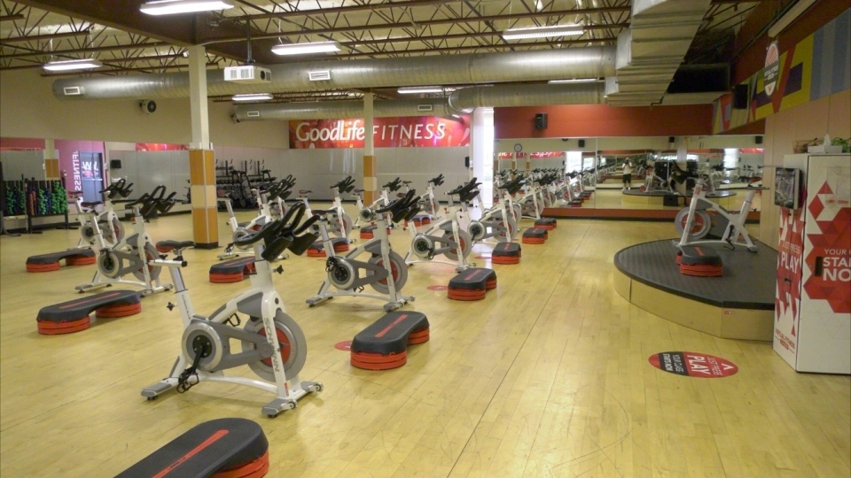 Stationary bikes have been moved into the largest studio in each GoodLife Fitness club. (Dave Charbonneau / CTV News Ottawa)