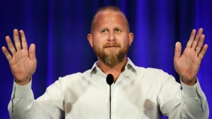 In this Sept. 7, 2019, file photo, Brad Parscale campaign manager for President Donald Trump's 2020 reelection campaign, speaks during the California GOP fall convention in Indian Wells, Calif. (AP Photo/Chris Carlson)