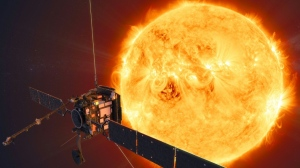 This handout illustration image released by The European Space Agency, shows an artist's impression of the Solar Orbiter in Space. (AFP)