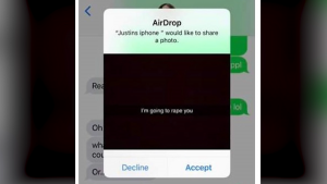 A screen grab posted to Facebook of a message sent by AirDrop is shown.