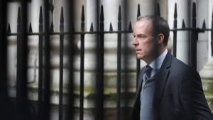 U.K. Foreign Secretary Dominic Raab, walks towards 10 Downing Street for a Cabinet meeting in London, on March 11, 2020. (Frank Augstrin / AP)
