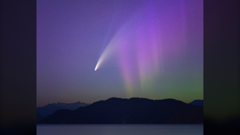 Comet NEOWISE is seen streaking above the sky with the Aurora Borealis visible just outside of Vancouver on July 13. (Liron Gertsman / @liron_gertsman_photography)