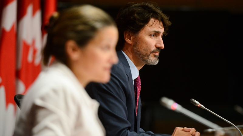 Prime Minister Justin Trudeau and Deputy Prime Minister and Minister of Intergovernmental Affairs Chrystia Freeland hold a press conference on Parliament Hill in Ottawa on Thursday, July 16, 2020. THE CANADIAN PRESS/Sean Kilpatrick