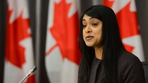 Youth Minister Bardish Chagger speaks during a press conference on Parliament Hill amid the COVID-19 pandemic in Ottawa on Thursday, June 25, 2020. THE CANADIAN PRESS/Sean Kilpatrick