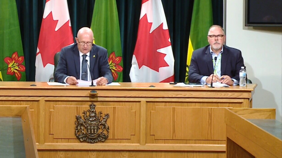 Rural and Remote Health Minister Warren Kaeding and Scott Livingstone, CEO of the Saskatchewan Health Authority, speak about COVID-19 on July 16, 2020. (CTV Regina)