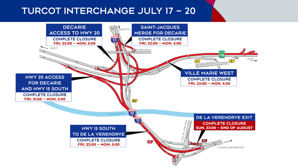 Turcot Interchange construction July 17-20, 2020