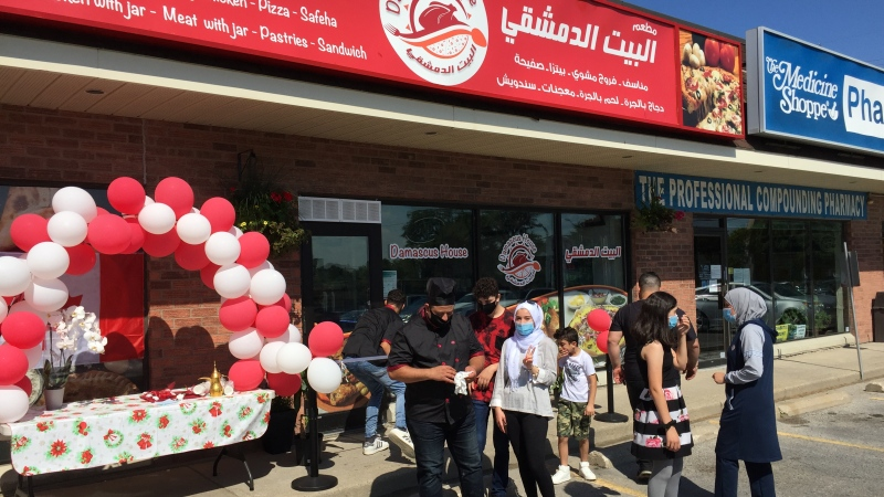 Syrian refugee family, now living in London, open Damascus House take-out restaurant - July 17, 2020. (Bryan Bicknell / CTV News)