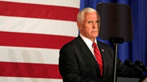 U.S. Vice President Mike Pence gives a speech on Friday, July 17, 2020, at Ripon College in Ripon, Wis. (Alex Martin/The Post-Crescent via AP)