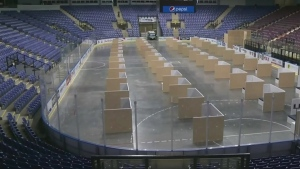 In May 2020, the arena was equipped with individual pods to help shelter-goers to self-isolate during the COVID-19 pandemic.