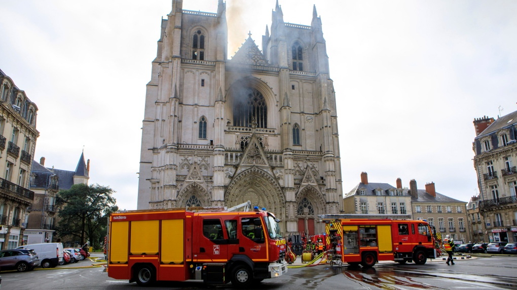 Fire breaks out at cathedral in French city of Nantes