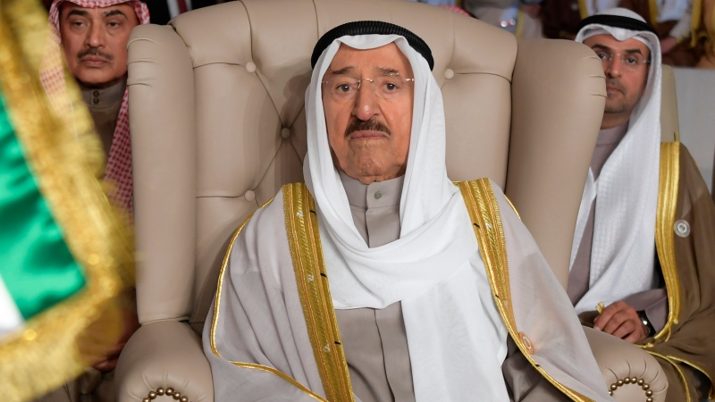 In this March 31, 2019, file photo, Kuwait's ruling emir, Sheikh Sabah Al Ahmad Al Sabah, attends the opening of the 30th Arab Summit, in Tunis, Tunisia. (Fethi Belaid/Pool Photo via AP, File)