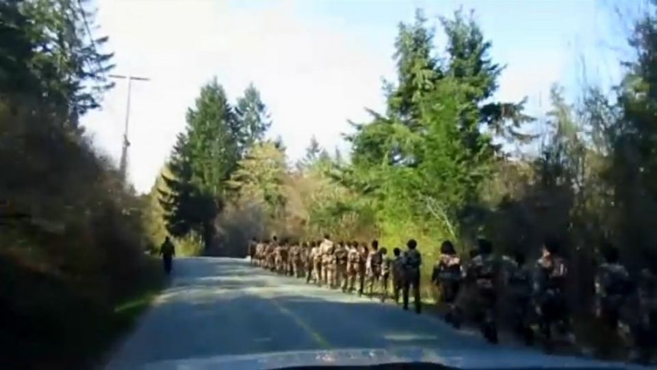 Military fatigues on Salt Spring Island