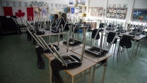 A empty classroom is pictured at Eric Hamber Secondary school in Vancouver, B.C. Monday, March 23, 2020. Newfoundland and Labrador's plan for the upcoming school year aims to maximize in-class attendance with the option for schools to return to remote learning if COVID-19 risk increases. THE CANADIAN PRESS/Jonathan Hayward