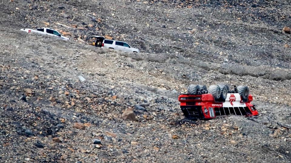 Scene of Columbia Icefield rollover, July 19