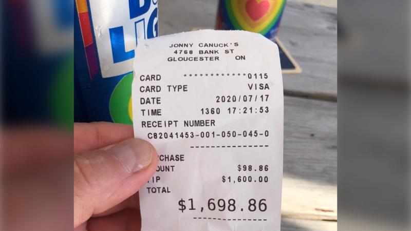 A regular customer at Jonny Canuck's, in Ottawa's Findlay Creek neighbourhood, left a $1600 tip Friday, the first day the restaurant was allowed to reopen its dining room. (Photo: Jonny Canuck's / Facebook)